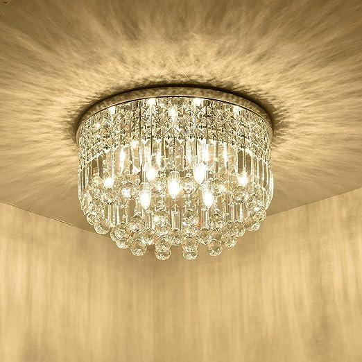 Modern Crystal Chandelier k9 Lighting Flush Mount LED Ceiling Light Fixture Pendant Lamp for Dining Room Bedroom Livingroom 9 E12 LED Bulbs Required Round Chandelier Height11.8''xWidth19.7''