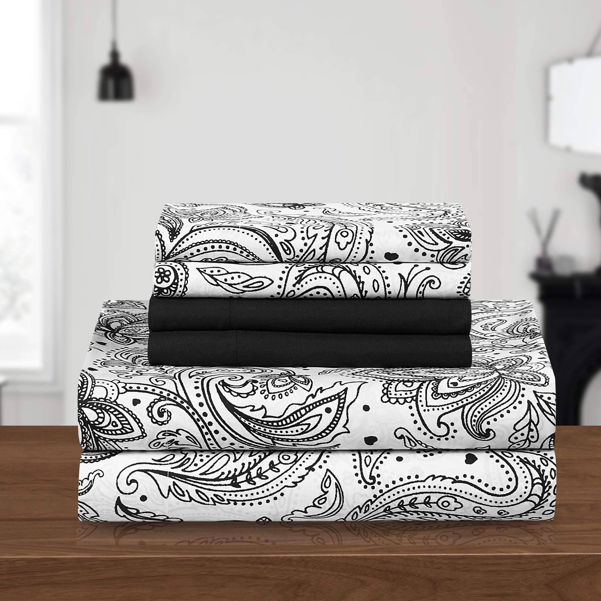 PH 6 Piece Queen Black Printed Sheet Set, Country & Vintage Style, Microfiber Material, Paisley Pattern Deep Pockets, Fully Elasticized Fitted, Machine Wash - Floral Print