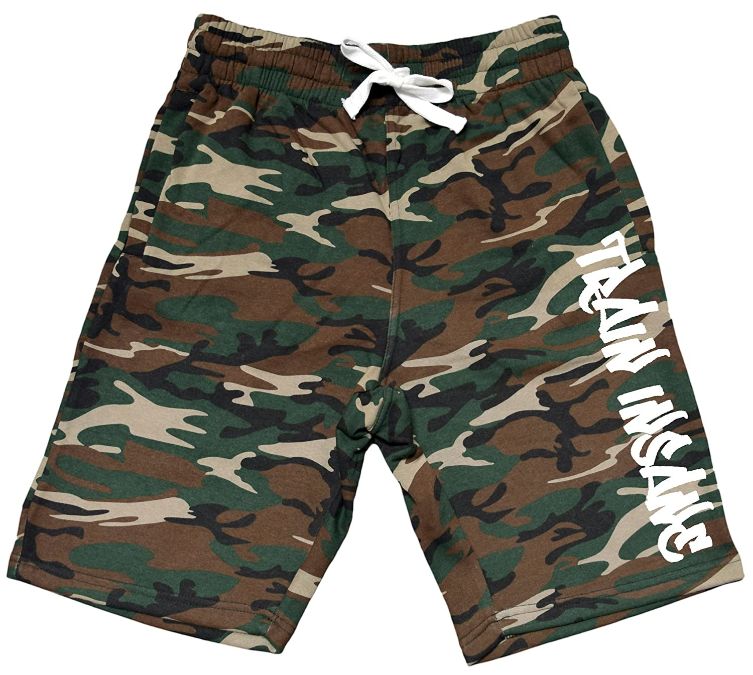 Interstate Apparel Mens Graffiti Train Insane V191 Camo Fleece Jogger Sweatpant Gym Shorts