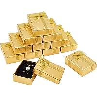 PandaHall Presentbox set, 12 st 7 x 4 x 0,9 tum rektangulär kartong papper smycken lådor presentfodral med rosett för…