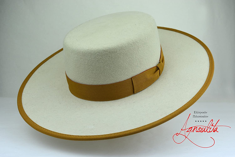The Cosmopolitan - Off White Flat Crown Wool Felt Bolero Hat - Extra Wide Brim - Men Women