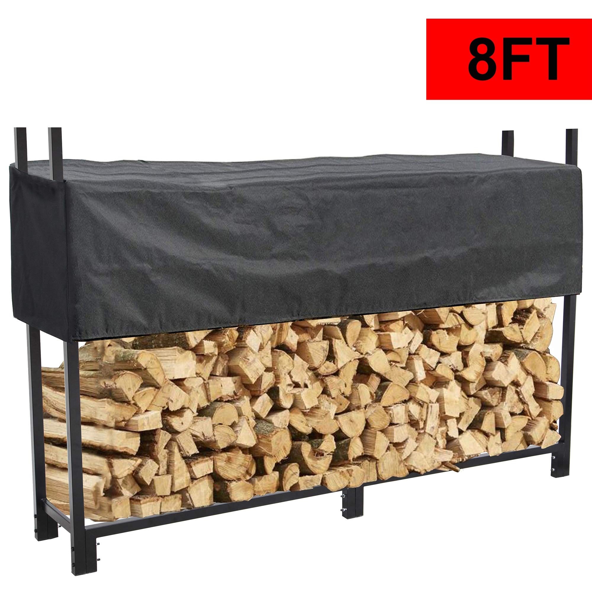 Reliancer 8 FT Firewood Log Rack w/ 600D Waterproof Cover Indoor Outdoor Heavy Duty Steel Log Holder Fire Wood Holders Storage Carrier Large Storage Capacity for Home Backyard Patio Garden Fireplace by Reliancer