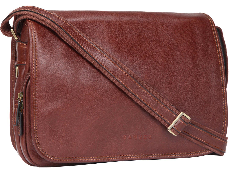 Banuce Men's Vintage Leather Messenger Bag 12'' Laptop Bag Business Shoulder bag