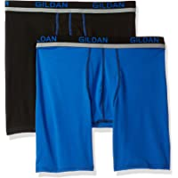 Gildan Mens Long Leg Stretch Polyester Athletic Boxer Briefs, 2-Pack Boxer Briefs - Multi