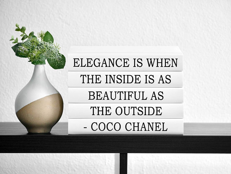 Decorative Quote Books, Fashion Designer Book Stack, White Black Book Home Decor, Coffee Table Books for Display, Fashion Quote Art Elegance is When