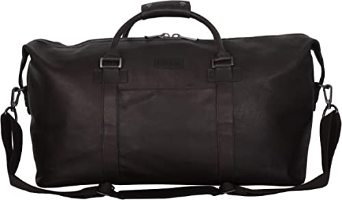 Kenneth Cole Reaction I Beg To Duff-er Full-Grain Colombian Leather Top Zip 20 Carry-On Duffel Travel Bag, Brown, Inch Classic