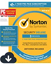 $49 » Norton Security Deluxe – Antivirus software for 3 Devices with Auto Renewal, Requires Payment Method – 1 Year Pre-Paid Subscription [PC/Mac/Mobile Download]