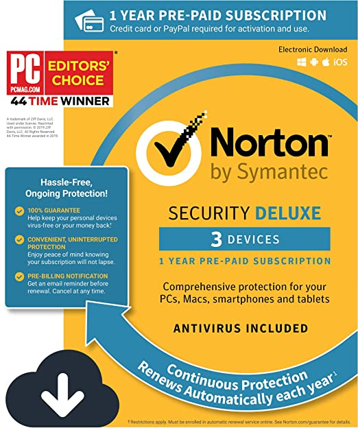 Norton Security Deluxe – Antivirus software for 3 Devices with Auto  Renewal, Requires Payment Method – 1 Year Pre-Paid Subscription  [PC/Mac/Mobile