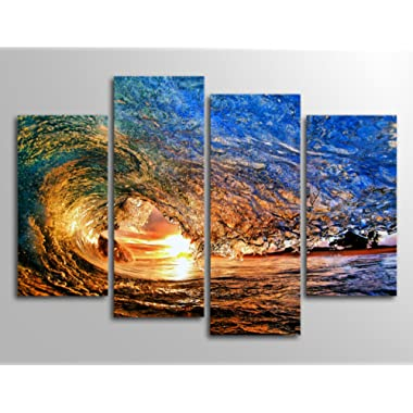 Ocean Canvas Wall Art Waves Sunset Canvas Prints - 4 Piece Canvas Art Blue Sea Seascape Nature Pictures for Home Decoration