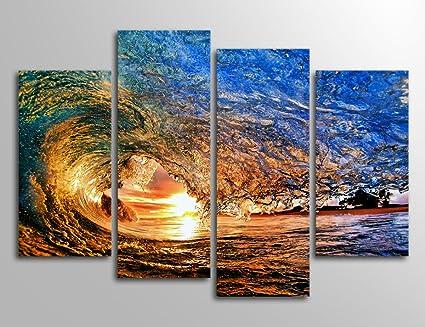 Yearainn Ocean Canvas Wall Art Waves Sunset Canvas Prints   4 Piece Canvas  Art Blue Sea