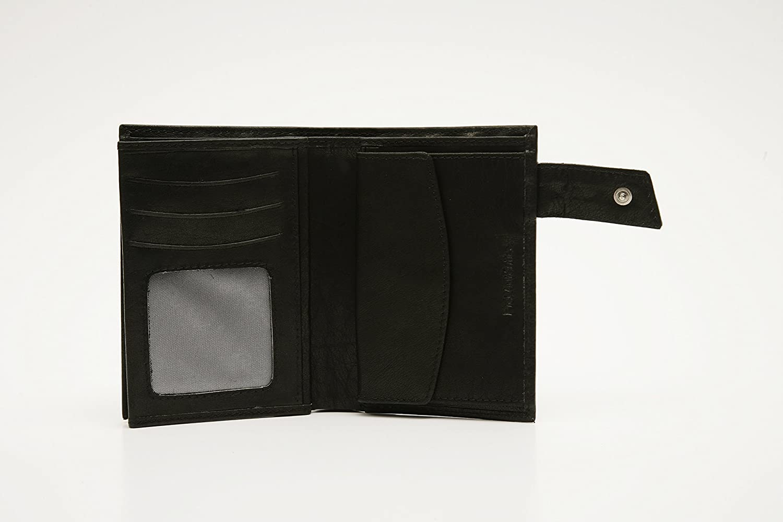 Cartera de caballero en piel de vacuno mod 5 con broche exterior multiples departamentos y monedero Pielini