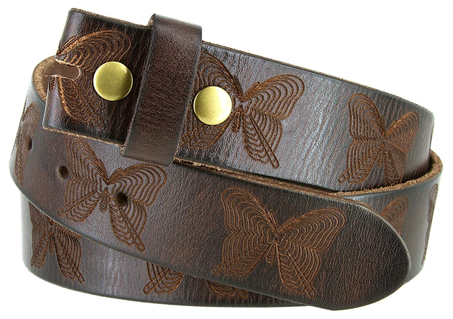Butterfly Tooled Full Grain Casual Leather Replacement Belt Strap 1-1//2 Wide