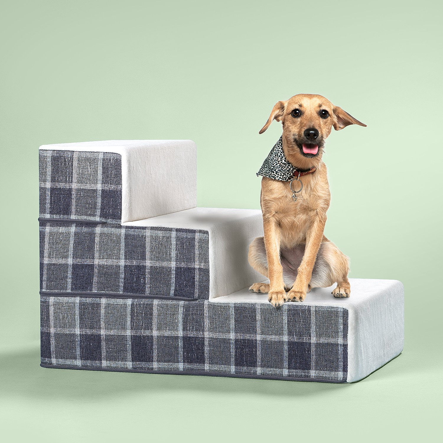 Zinus Cozy Pet Stairs/Pet Ramp/Pet Ladder/Grey Checked, Medium