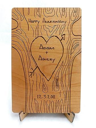 amazon com free engraving custom laser cut wood anniversary card