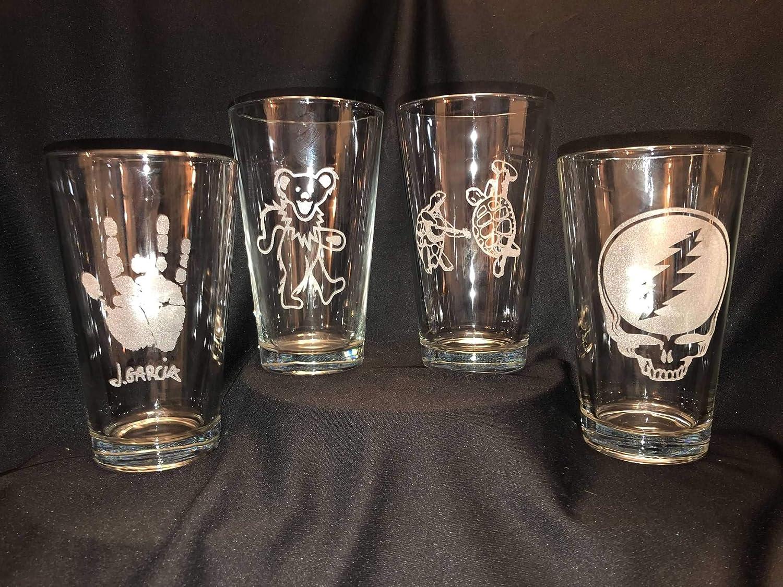 Handprint Grateful Dead Jerry Garcia Deadhead Craft Beer Pint Glass Laser Engraved Etched 16 oz Fraternity Hippie Boho