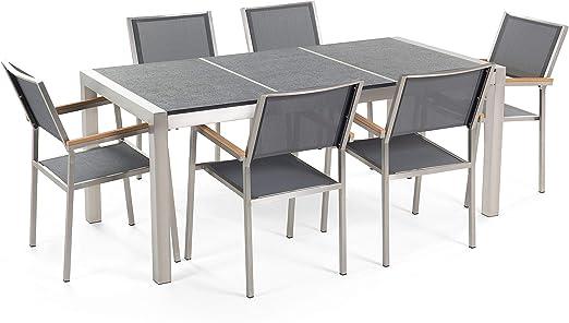 Conjunto de jardín - Granito curtido negro - Mesa 180 cm con 6 sillas gris - GROSSETO: Beliani: Amazon.es: Hogar