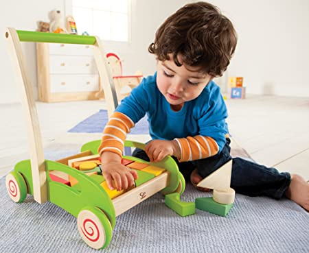 Push Toys For Toddlers : Amazon hape block and roll cart toddler wooden push and pull