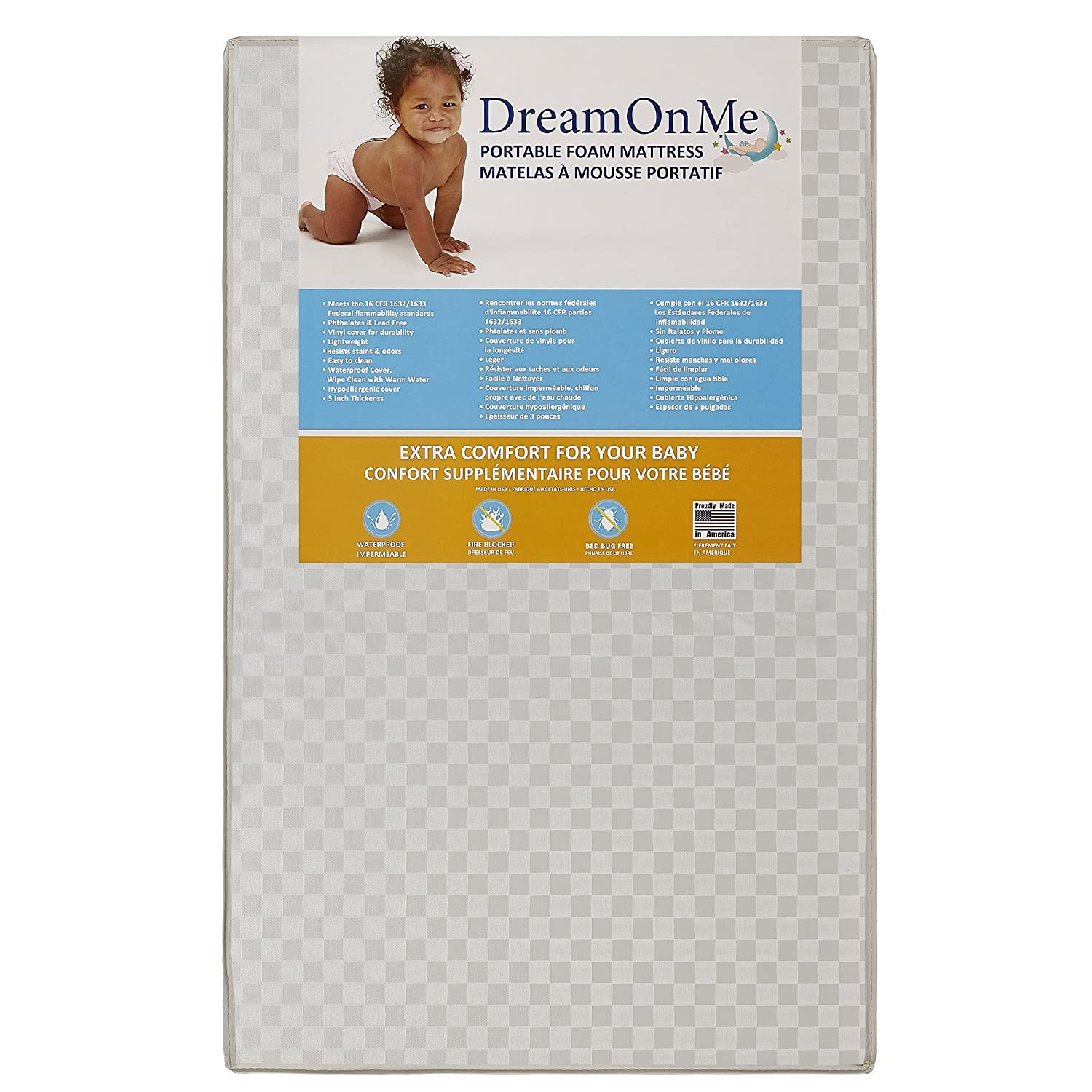Dream On Me 3 Portable Non Full Size Crib Mattress,.