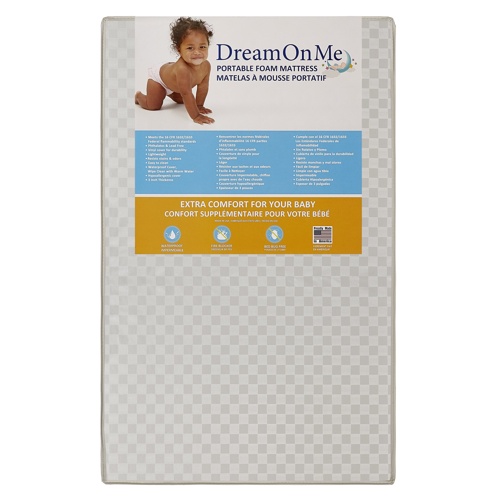 Dream On Me 3 Portable Non-full size crib mattress, White Vinyl