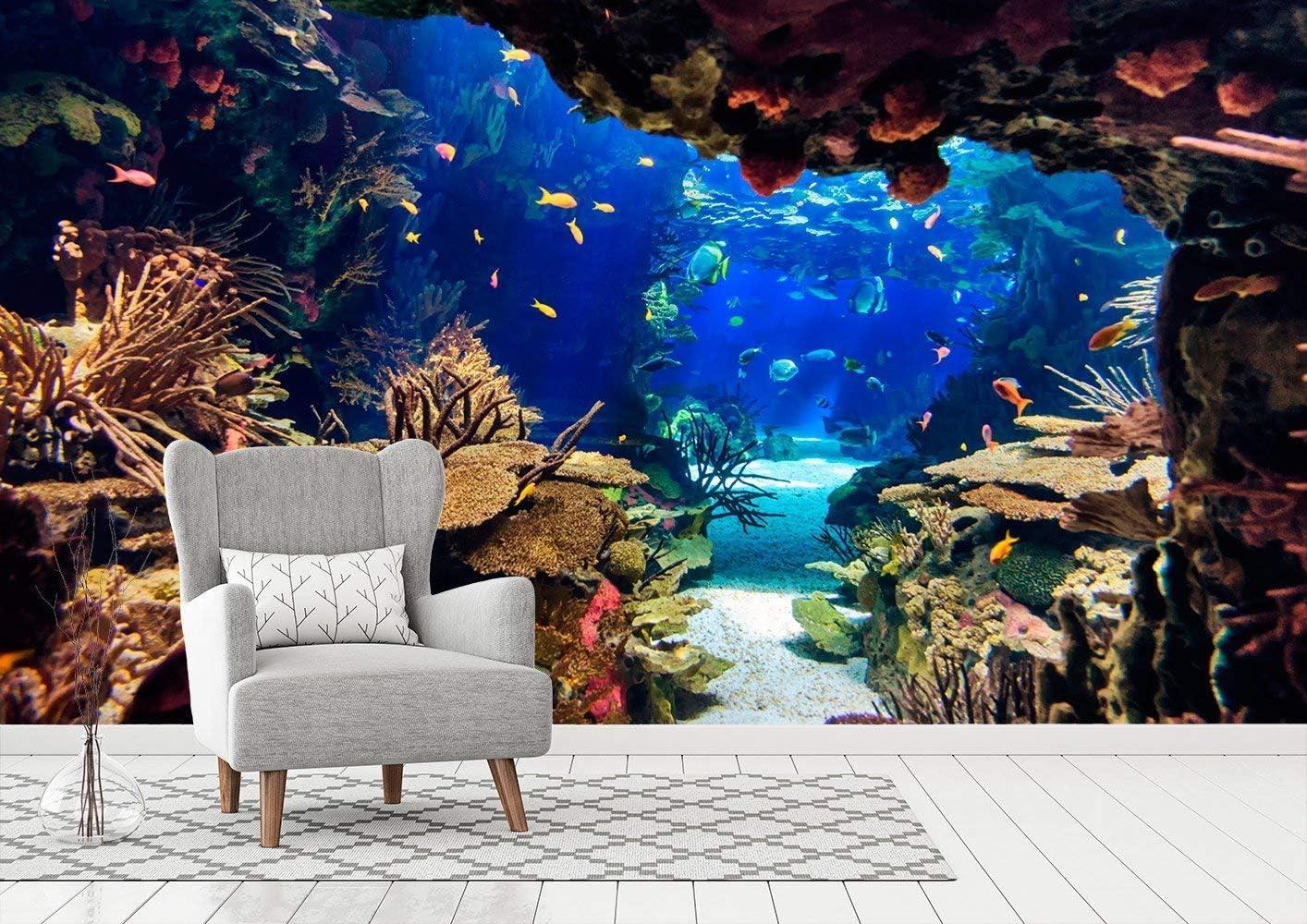Fotomural Vinilo para Pared Fondo Marino  Fotomural para Paredes   Mural   Vinilo Decorativo   Varias Medidas 200 x 150 cm   Decoración comedores, Salones, Habitaciones.