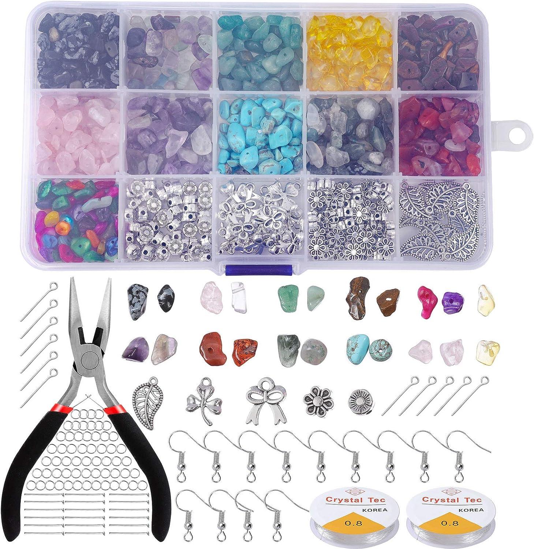 Kit de Fabricación de Cuentas de Piedras para Joyas, Comius Sharp 1000+ Piezas Cuentas Piedra Natural Irregulares Piedras Colores Traje para Bricolaje Collares Pulseras HacerJoyería Accesorios