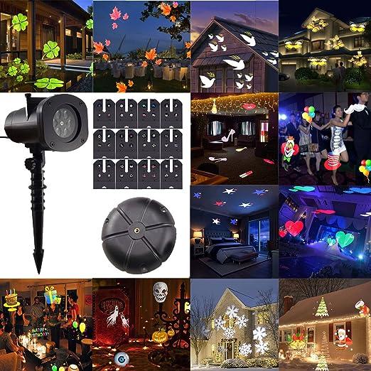 Proiettore Luci Natale Giardino.Gesimei Proiettore Luci Natale Esterno 12 Lenti Intercambiabili Proiezione Lampada Led Impermeabile Illuminazione Giardino Faretti Per Albero Casa