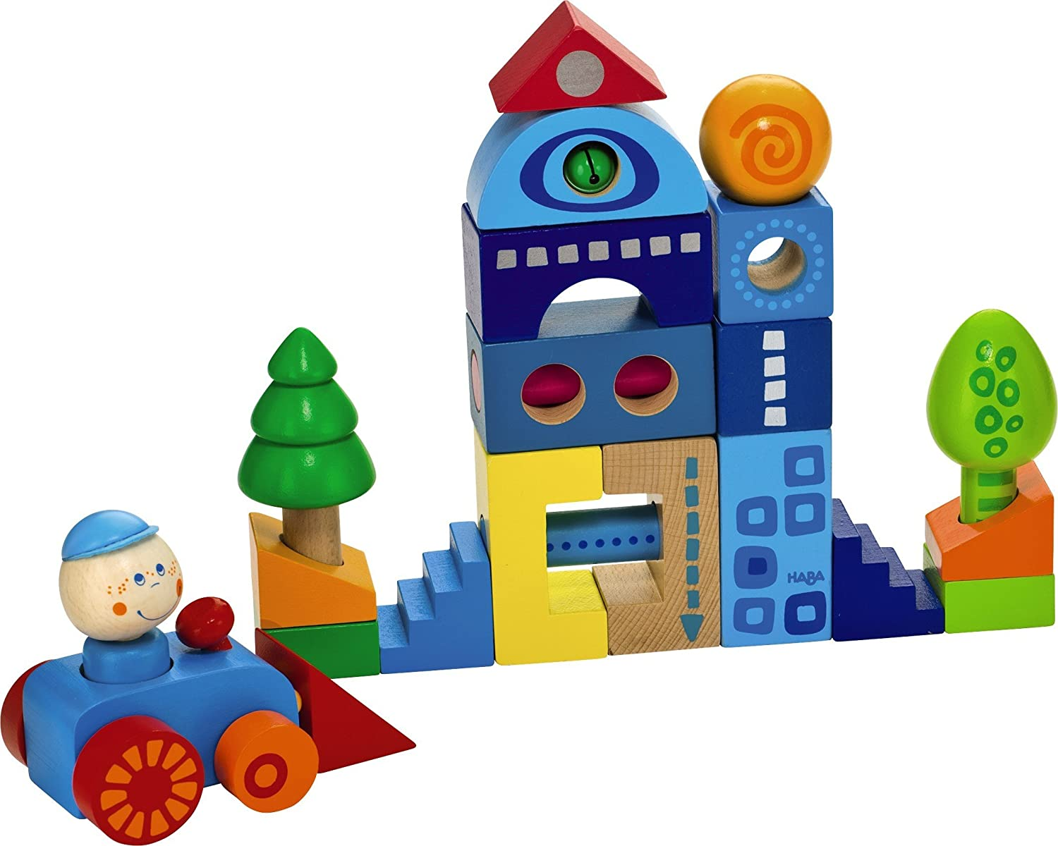 HABAtown Blocks - 25 Piece City Themed Building Set with Car, Driver and Trees for Ages 1+