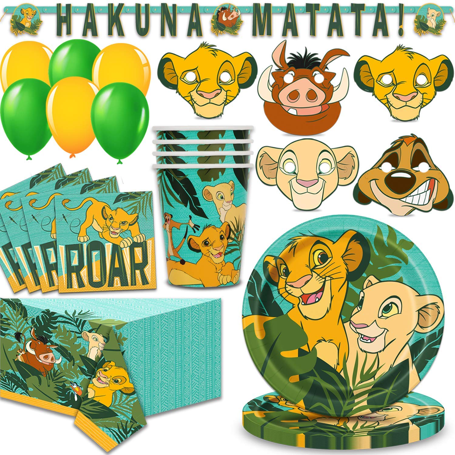 Lion King Party Supplies for 16 - Large Plates, Napkins, 16 Masks, Table Cover, Cups, Hanging Banner, Balloons - Great Disney Decorative Birthday Set with Simba, Timon, Pumbaa, Sarabi, Nala and More! by HeroFiber