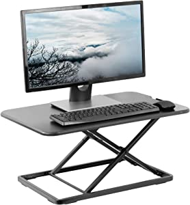 VIVO Ultra-Slim Single Top Height Adjustable Standing Desk Riser, Compact Sit Stand Desktop Converter for Monitor or Laptop, Black (DESK-V001J)