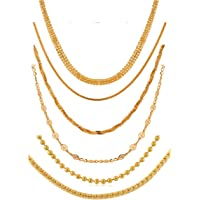 Combo of Six Gold-Plated Casual and Party-Wear Stylish Exclusive Fashion Jewelry Chains Mala Set with-Out Pendant for Women and Girls (Pack of 6) (Golden)