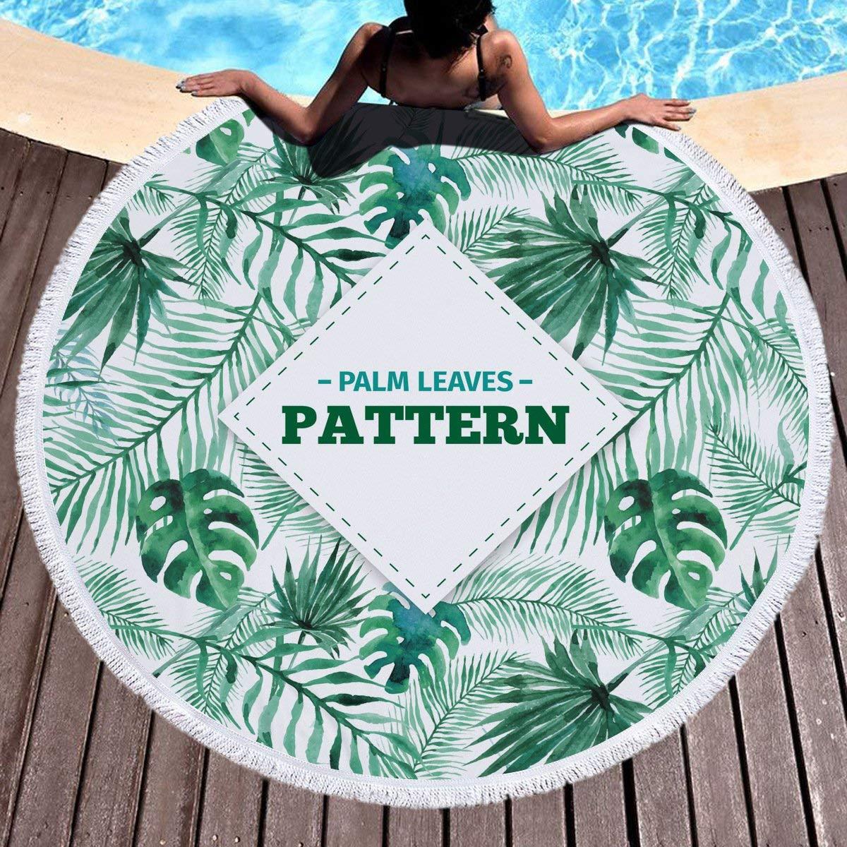 A Beach Towel Round Beach Towel Fringed Beach Towel Swimming Shawl Outdoor Carpet Picnic Mat Beach Sunscreen Towel Yoga Mat. B for Kids & Adults