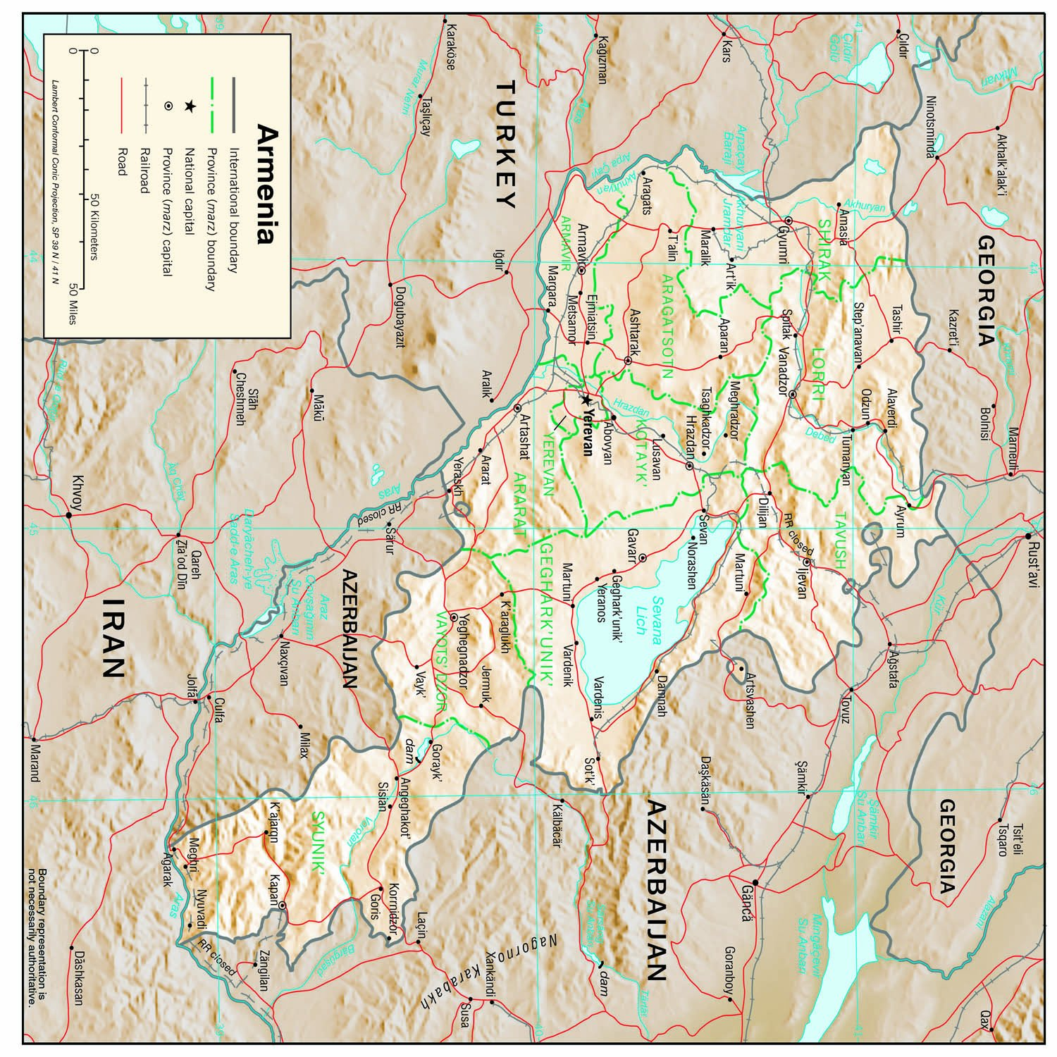 Amazon.com: Map Poster - Armenia Physical Map 12\