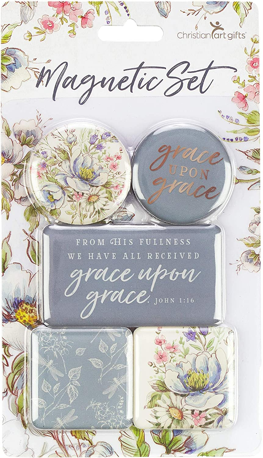 Christian Art Gifts Blue Flower Refrigerator Magnets | Grace Upon Grace - John 1:16 Bible Verse | Grace Upon Grace Collection Inspirational Fridge Magnet Mini Variety Set/5