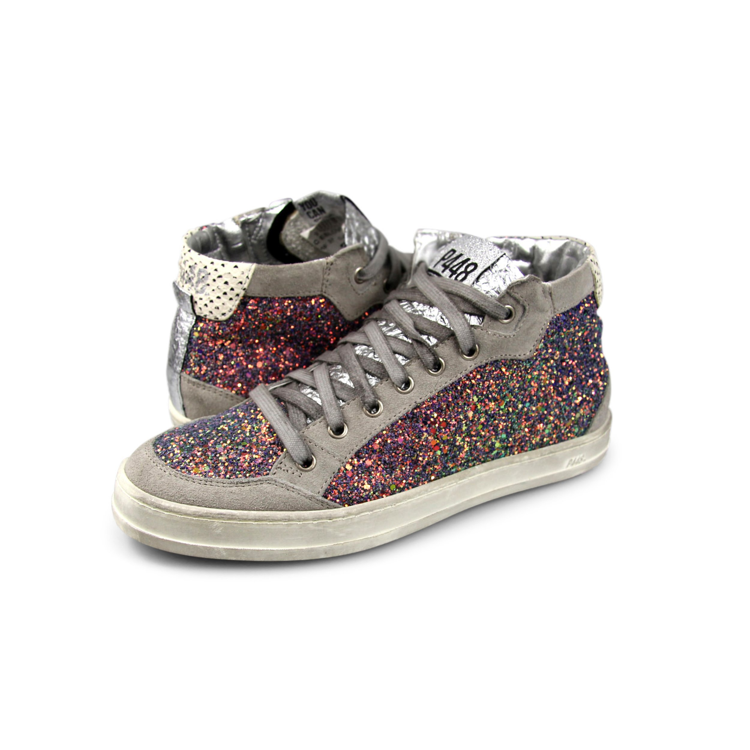 P448 Women's Love Italian Leather Multicolor Glitter Sneaker EU 39 - US 8/8.5