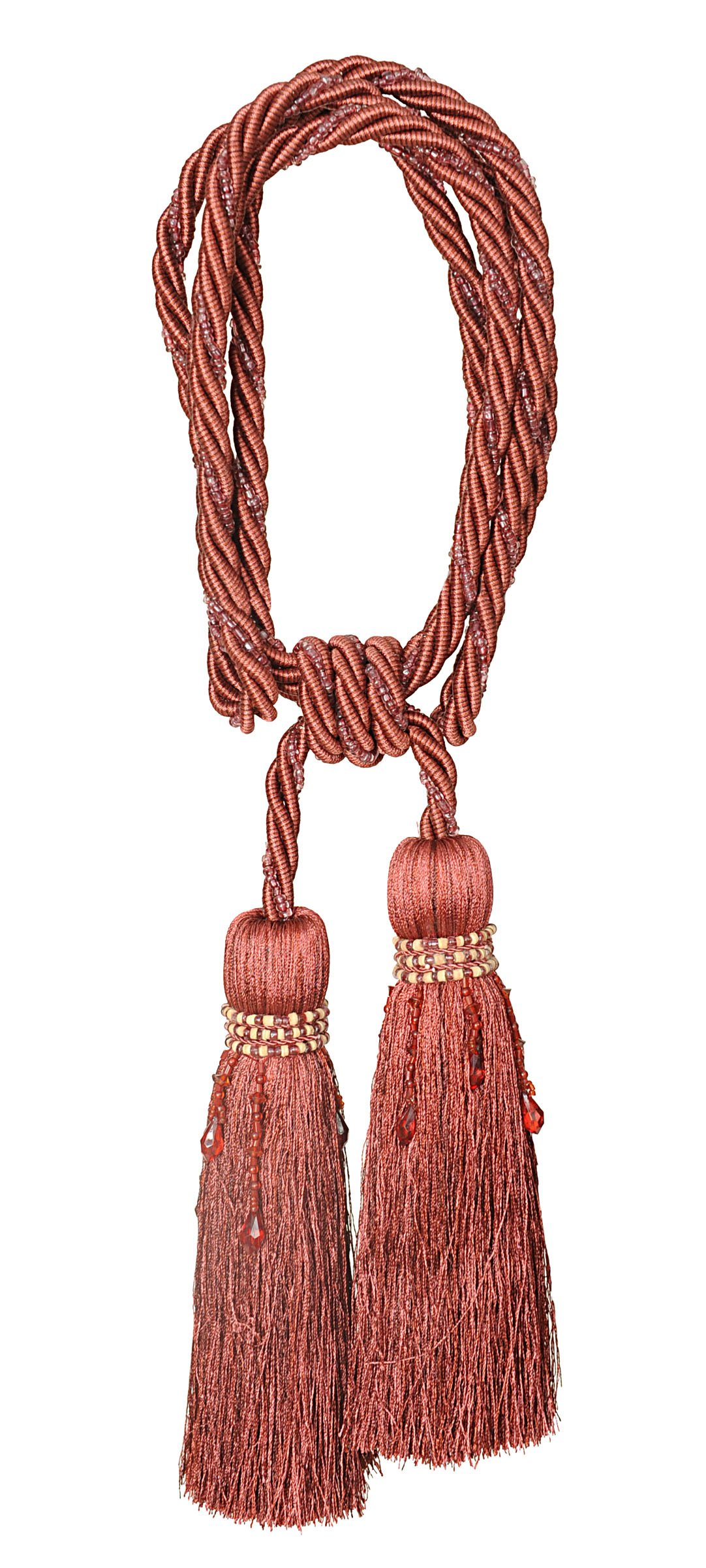 India House 76204 Milano Tieback with 8-Inch Double Tassel and 36-Inch Cord, Rust Mix