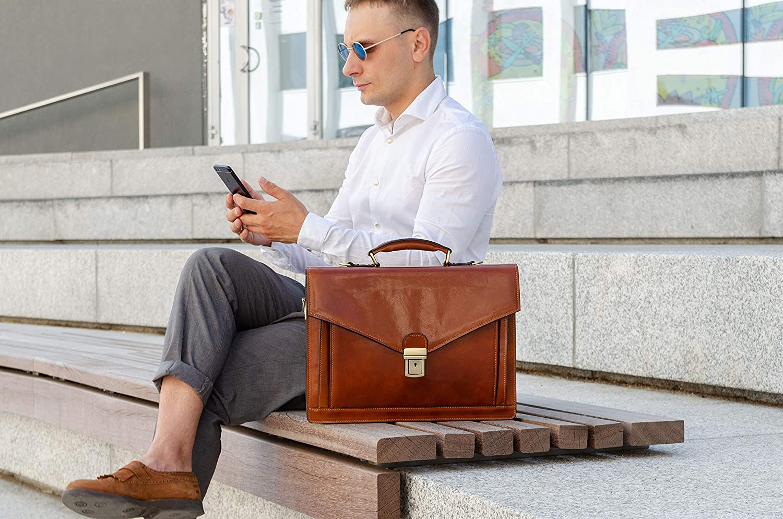 Braun Herren Ledertasche Aktentasche Umhängetasche 15 Zoll Laptoptasche Arbeitstasche Bürotasche Lehrertasche Notebooktasche Businesstasche Time Resistance Koffer Rucksäcke Taschen