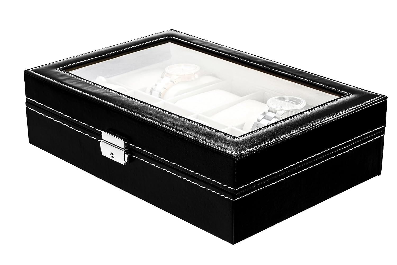Uhrenaufbewahrungsbox  Lindberg & Sons  B1O63  Schwarz Leder  12 FÄcher  Uhrenkissen  Weicher Samt  Einzigartiger
