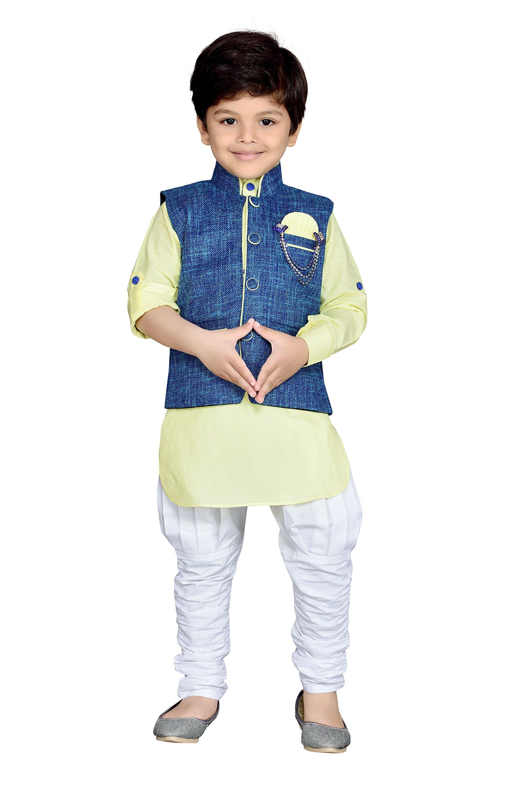 AJ Dezines Kids Indian Wear Bollywood Style Kurta Pyjama Waistcoat for Boys (635-LEMON-5)