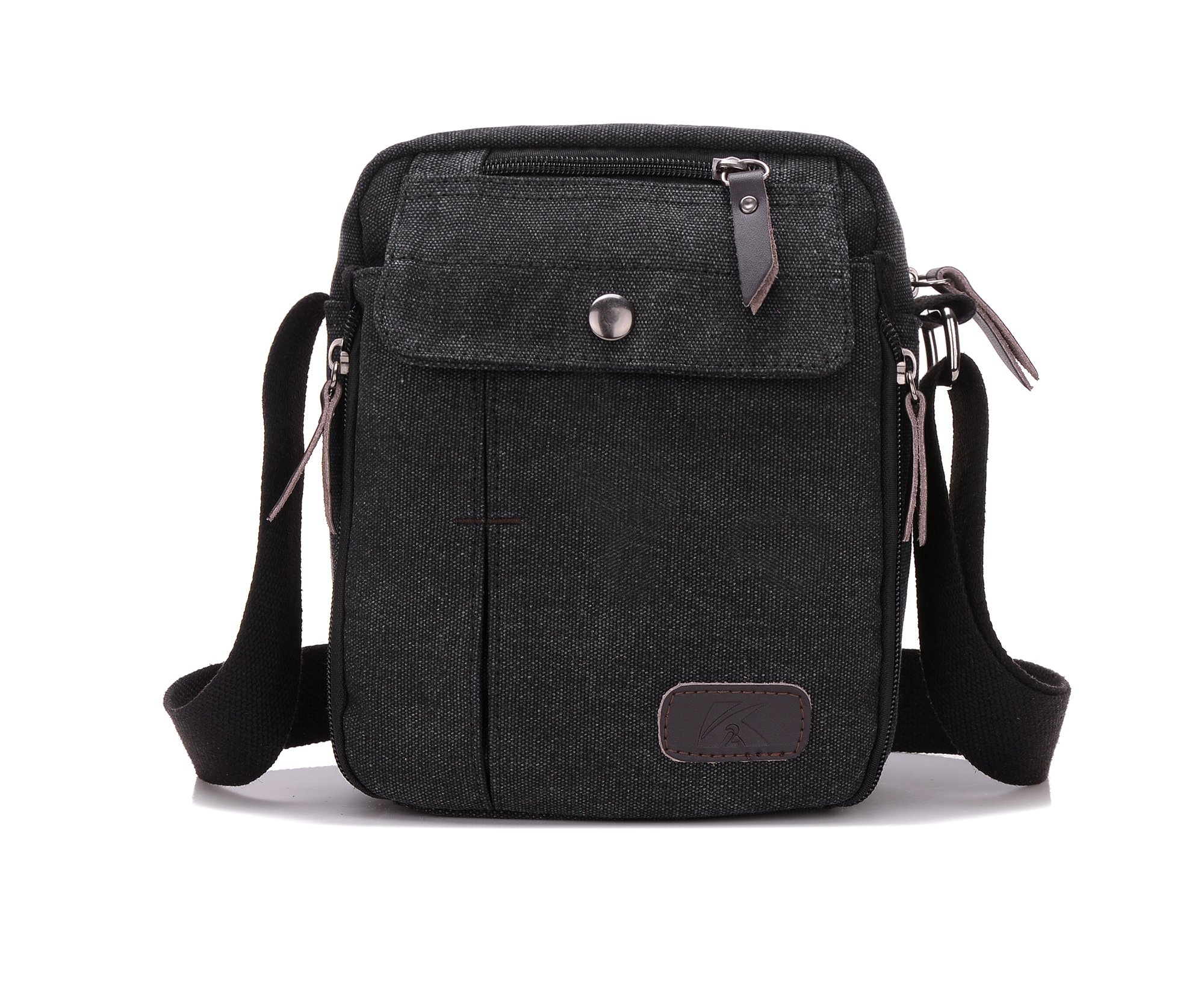 Heavy-Duty Canvas Small Messenger Bag Classic Multi-pocket Mini Shoulder Crossbody Bags Travel Purse by Haoguagua (Image #1)