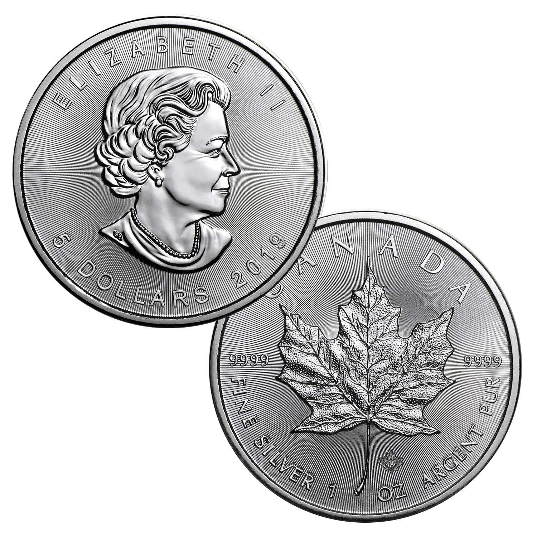 Lot of 5-2019 $5 1oz Silver Canadian Maple Leaf .9999 BU