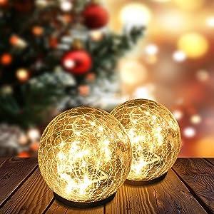 Solar Garden Ball Lights, Crack Glass Ball Solar Globe Lights, Solar Ground Light Outdoor Decorative, 35 LED Solar Pathway Lights Outdoor Garden Decor, Warm White LED Lights Ball, Waterproof, 1 Globe