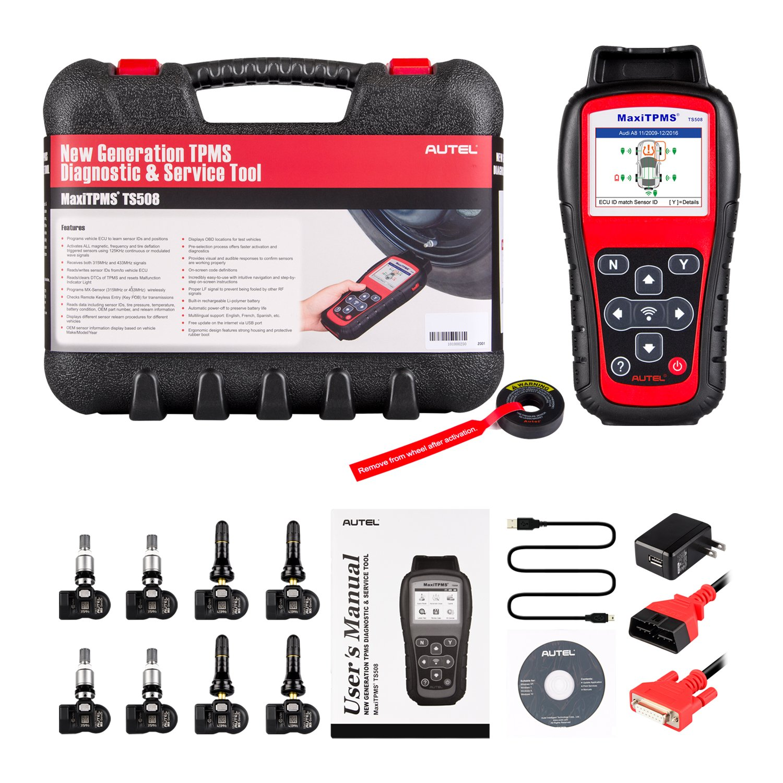 Autel MaxiTPMS TS508K TPMS Diagnostic Service Tool, Interchangeable valves with With 4 Pcs 315MHz MX-Sensor & 4 Pcs 433MHz MX-Sensor by Autel