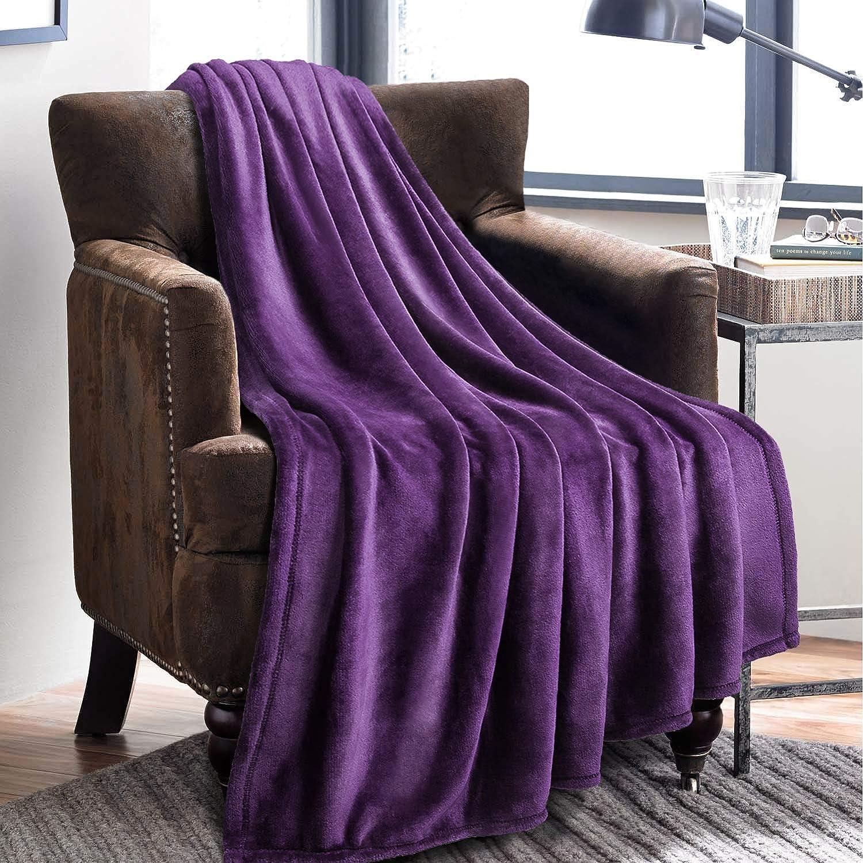 Manta de Bedsure More than comfort, super suave, alta calidad, de microfibra y franela, resistente a pliegues y anti-decoloración, microfibra, morado, ...