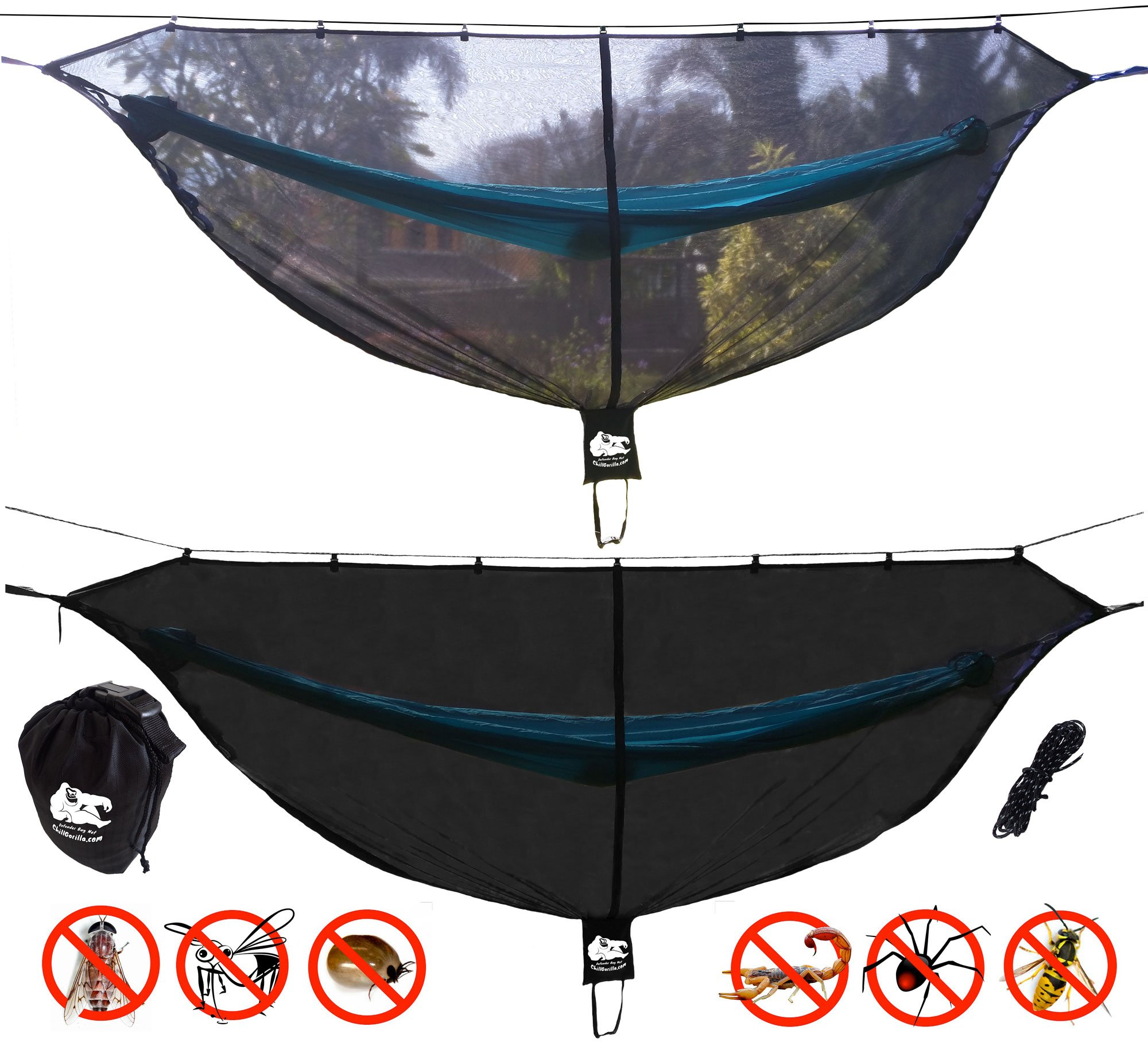 Chill Gorilla Defender 11' Hammock Bug Net Stops Mosquitos, No See Ums & Repels Insects. Compact, Lightweight. Eno Accessory. Fast Easy Setup. Size 132'' x 51'' by Chill Gorilla