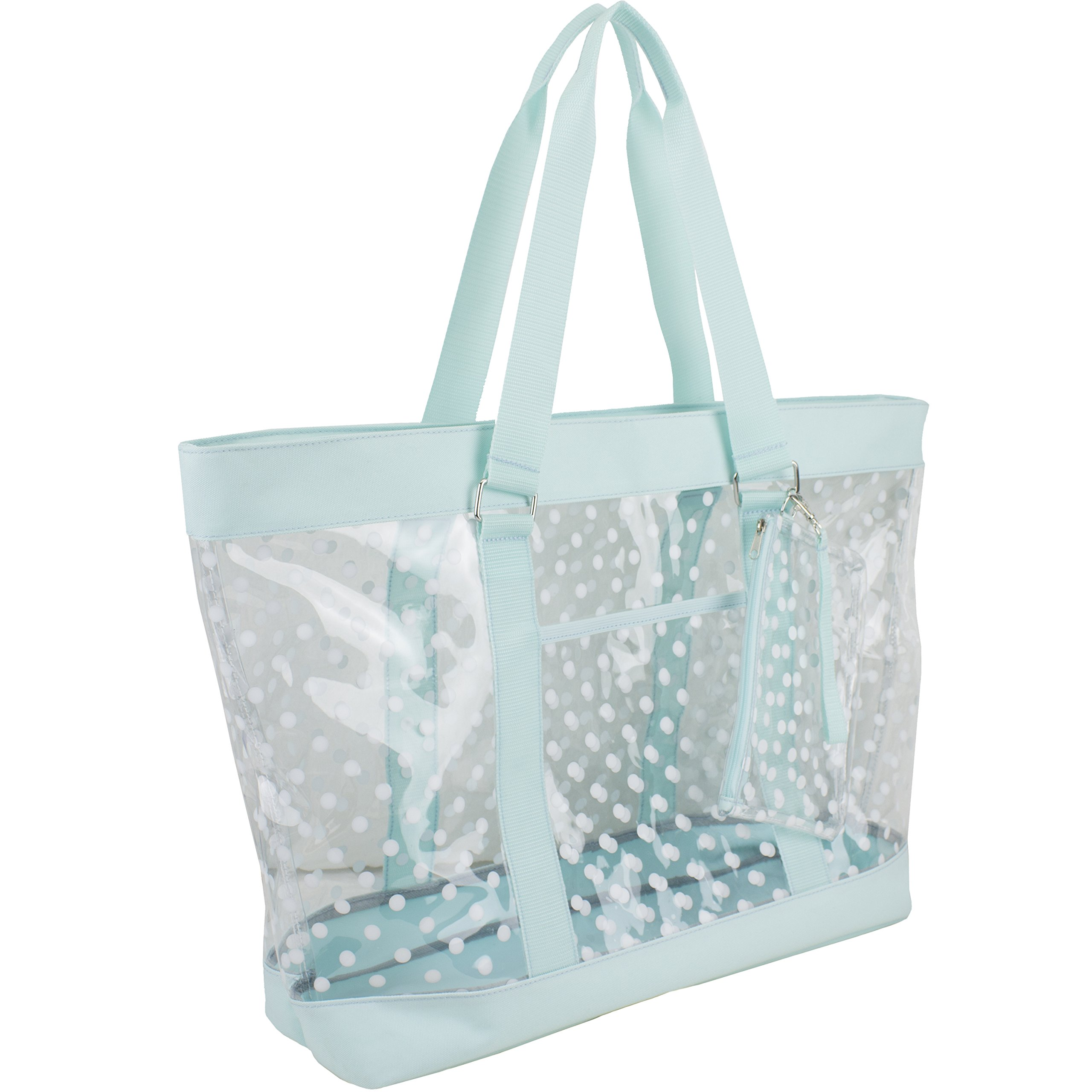 Eastsport Supreme Deluxe 100% Clear PVC Printed Large Beach Tote with Free Large Wristlet, Icy Blue with Dots