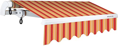 ADVANING 10 x8 Manual Patio Retractable Awning S Series Premium Quality, 100 Solution-Dyed UV80 Sun Shade, Color Desert Red Stripes, MA1008-A063N