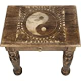 SAVON Wooden Side end Table Square yin yang Carved