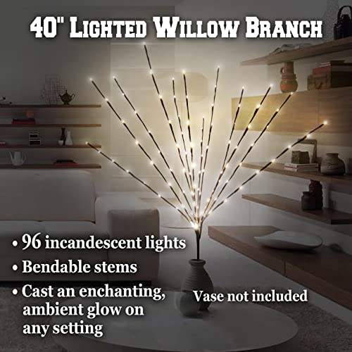 BenefitUSA Electric Corded Willow Branch with 96 Incandescent Lights