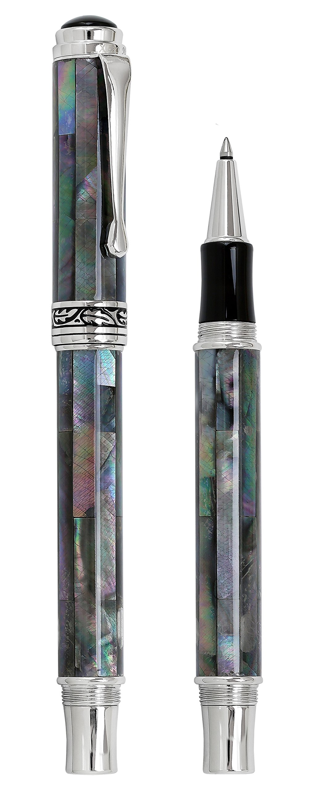 Xezo Maestro Natural Iridescent Black Mother of Pearl Platinum Plated Roller Pen. No Two Pens Alike by Xezo (Image #2)