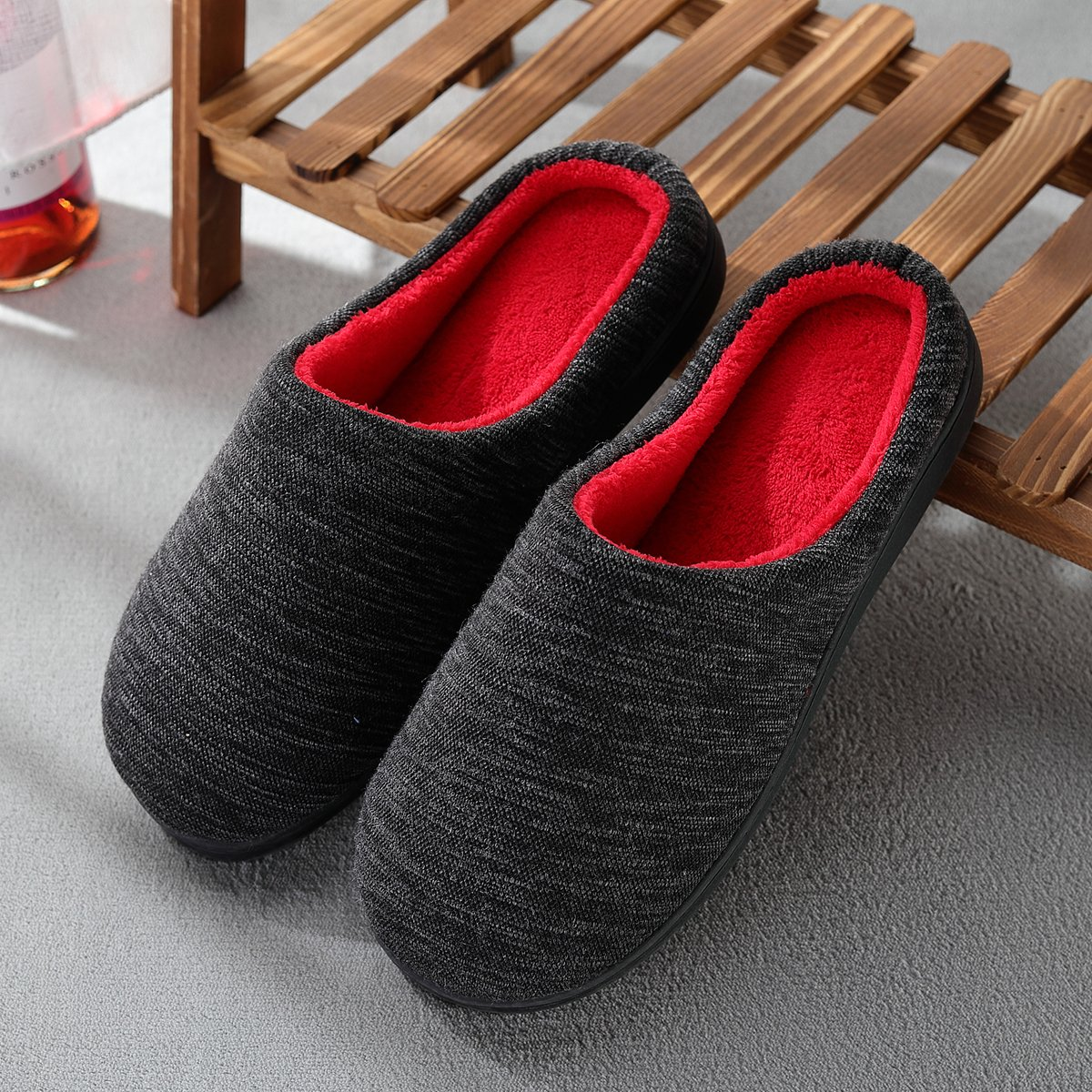 Cozy Spa House Indoor Slippers for Men Warm Lining Clog Furry Slippers by Harrms (Image #3)